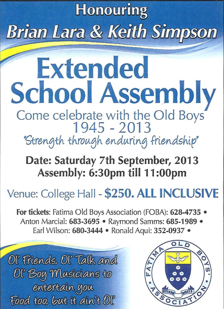 Fatima Extended School Assembly Flyer 2013
