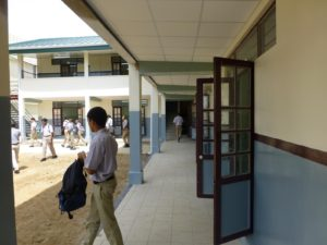 Students leaving a class that was held in the new school wing.