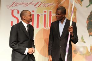 Brian Lewis with 2012 Trinidad and Tobago Olympic gold medalist, Keshorn Walcott